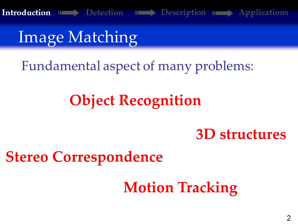 2 Image Matching Introduction Detection DescriptionApplications Motion Tracking Fundamental aspect of many problems: Object Recognition 3D structures Stereo Correspondence