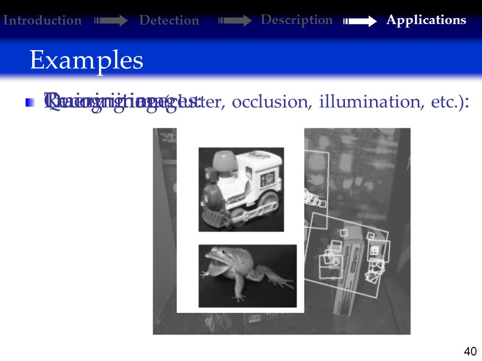 40 Examples Introduction Detection DescriptionApplications Training images: Query image: Recognition (clutter, occlusion, illumination, etc.) :