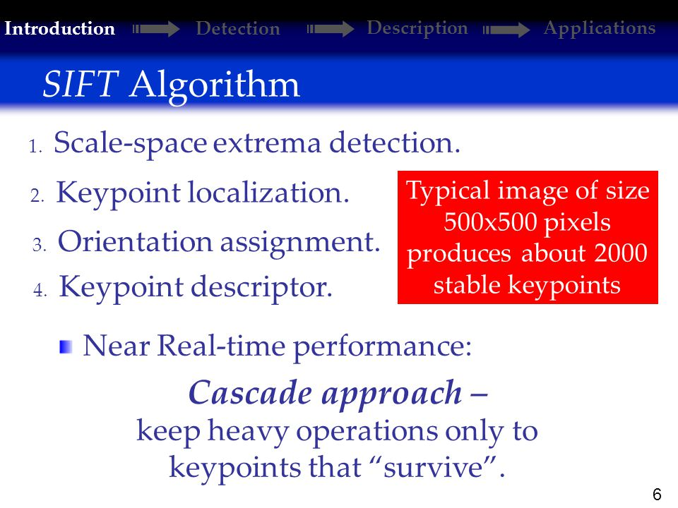 6 SIFT Algorithm 2. Keypoint localization. 1. Scale-space extrema detection.