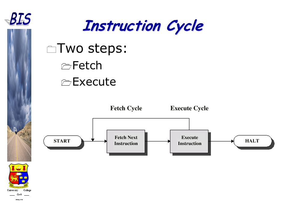 University College Cork IRELAND Instruction Cycle  Two steps:  Fetch  Execute