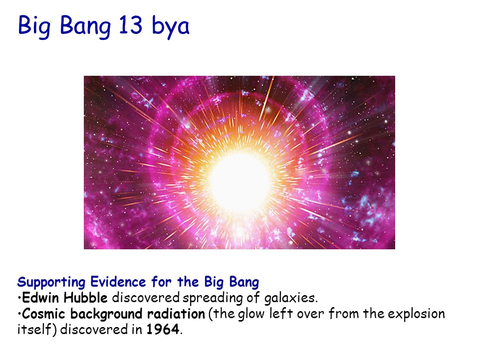 2 Supporting Evidence for the Big Bang Edwin Hubble discovered spreading of galaxies.