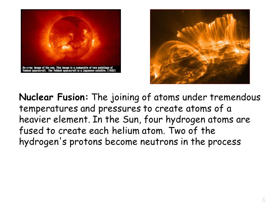 5 Nuclear Fusion: The joining of atoms under tremendous temperatures and pressures to create atoms of a heavier element.