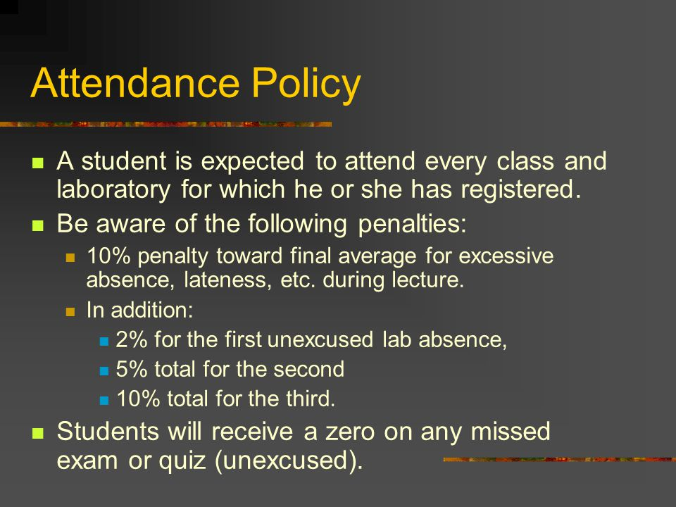 Attendance Policy A student is expected to attend every class and laboratory for which he or she has registered.