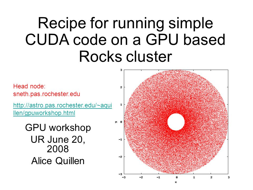 Recipe for running simple CUDA code on a GPU based Rocks cluster GPU
