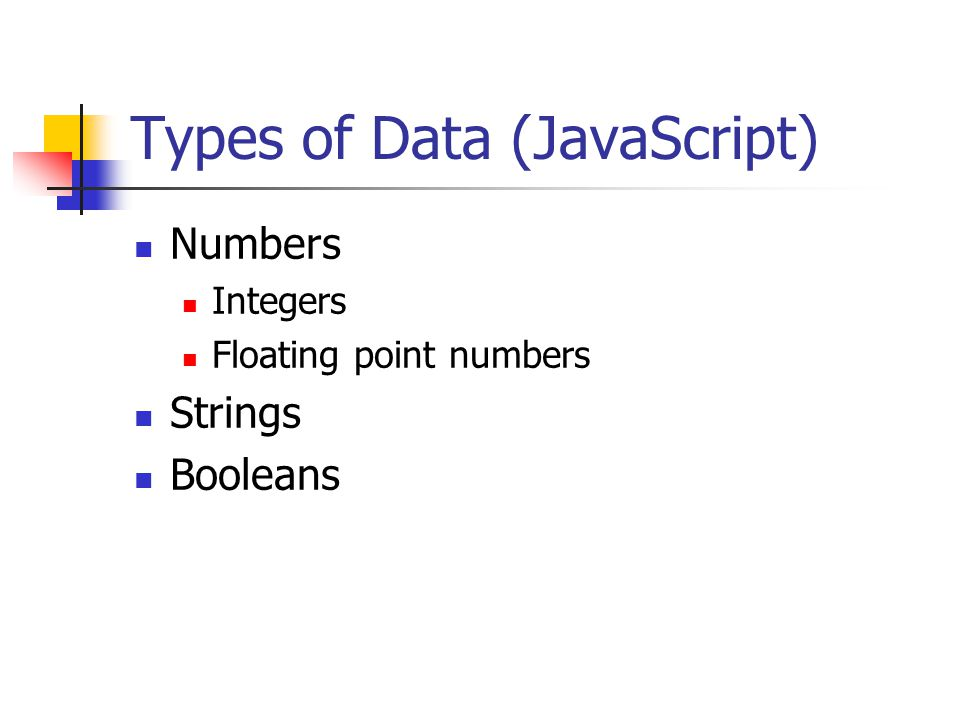 Types of Data (JavaScript) Numbers Integers Floating point numbers Strings Booleans