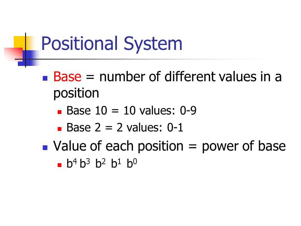 Positional System Base = number of different values in a position Base 10 = 10 values: 0-9 Base 2 = 2 values: 0-1 Value of each position = power of base b 4 b 3 b 2 b 1 b 0