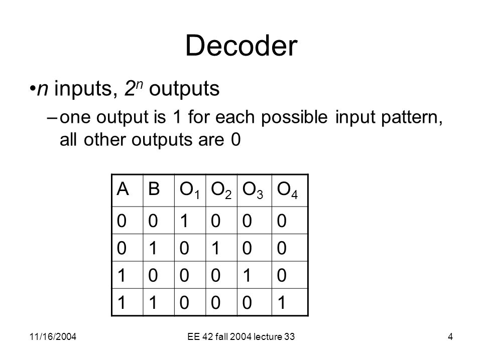 11/16/2004EE 42 fall 2004 lecture 334 Decoder n inputs, 2 n outputs –one output is 1 for each possible input pattern, all other outputs are 0 ABO1O1 O2O2 O3O3 O4O
