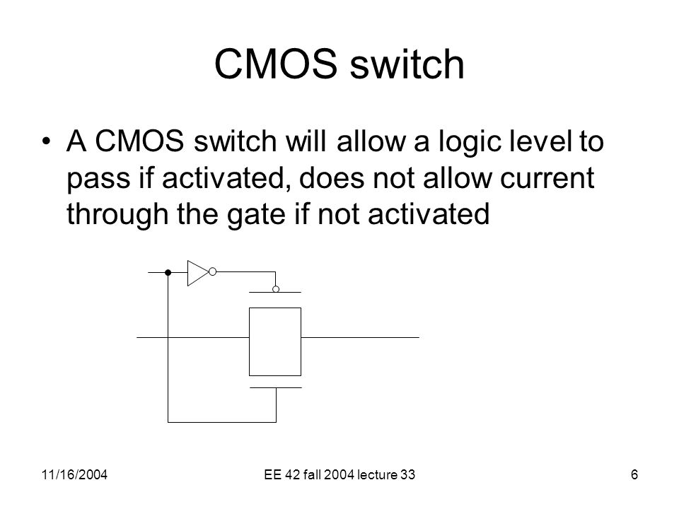 11/16/2004EE 42 fall 2004 lecture 336 CMOS switch A CMOS switch will allow a logic level to pass if activated, does not allow current through the gate if not activated