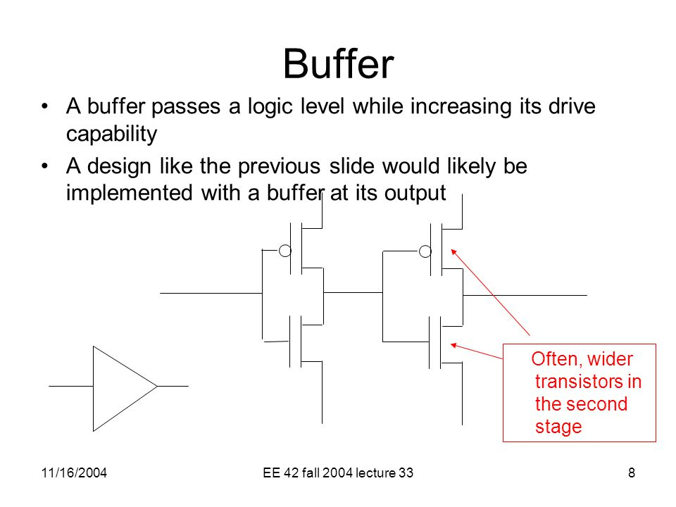 11/16/2004EE 42 fall 2004 lecture 338 Buffer A buffer passes a logic level while increasing its drive capability A design like the previous slide would likely be implemented with a buffer at its output Often, wider transistors in the second stage