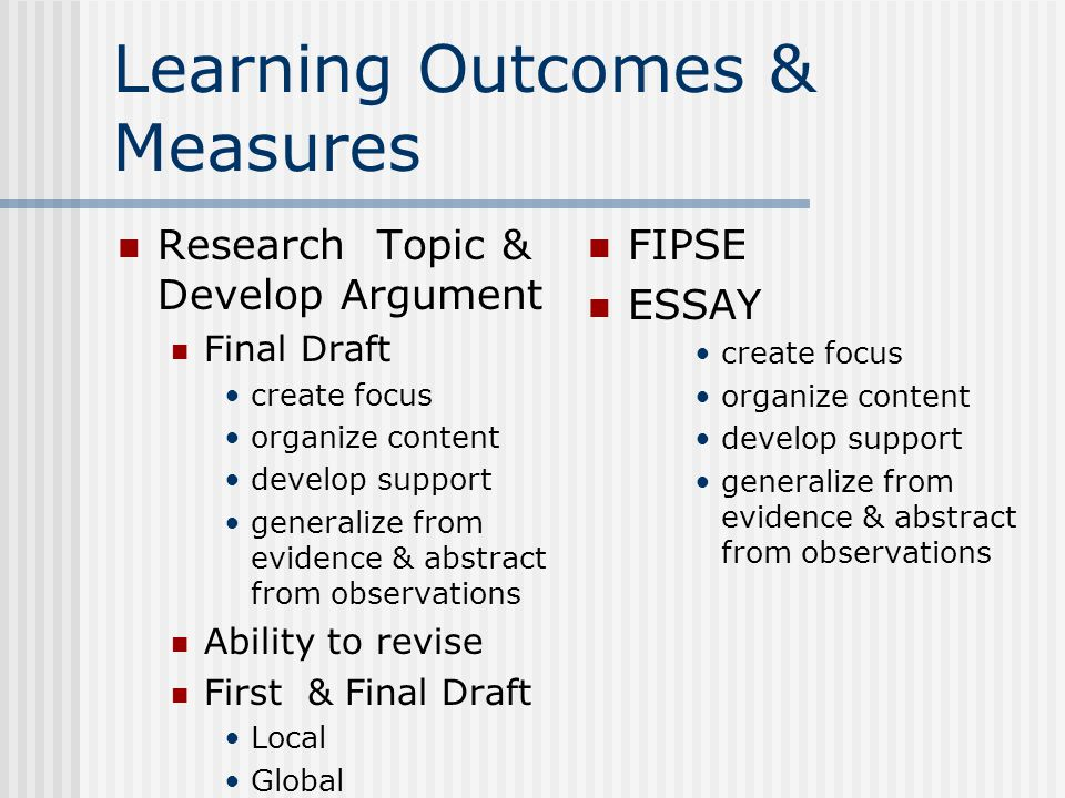 Learning Outcomes & Measures Research Topic & Develop Argument Final Draft create focus organize content develop support generalize from evidence & abstract from observations Ability to revise First & Final Draft Local Global FIPSE ESSAY create focus organize content develop support generalize from evidence & abstract from observations