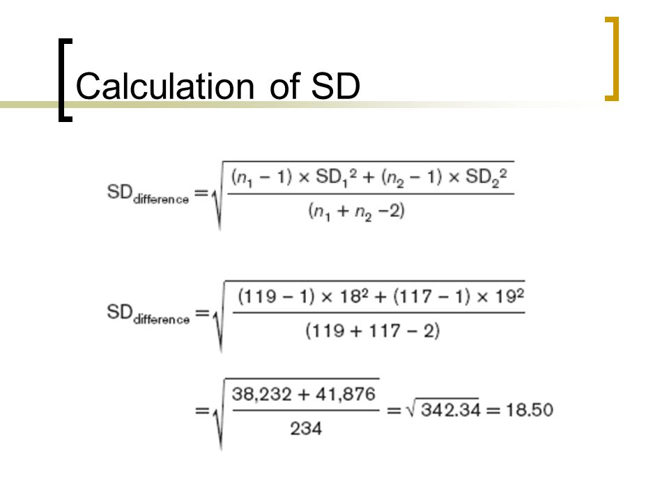 Calculation of SD