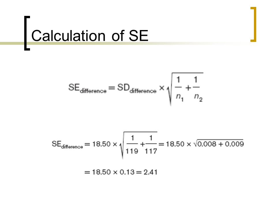 Calculation of SE