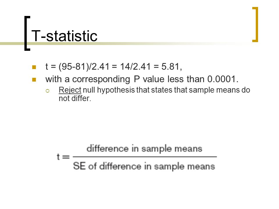 T-statistic t = (95-81)/2.41 = 14/2.41 = 5.81, with a corresponding P value less than