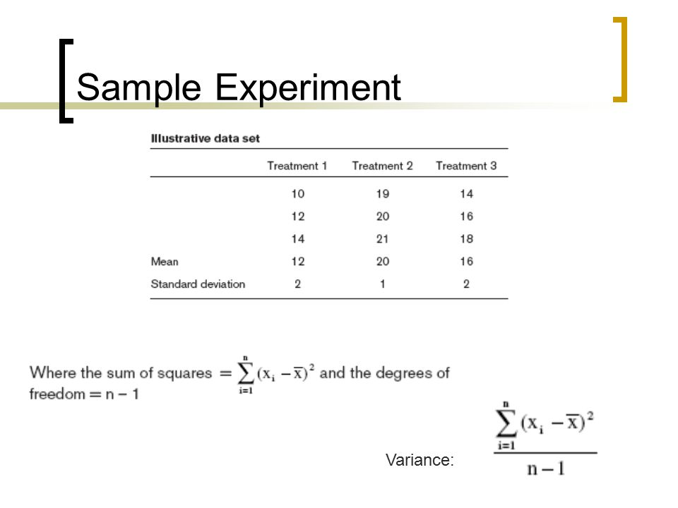 Sample Experiment Variance: