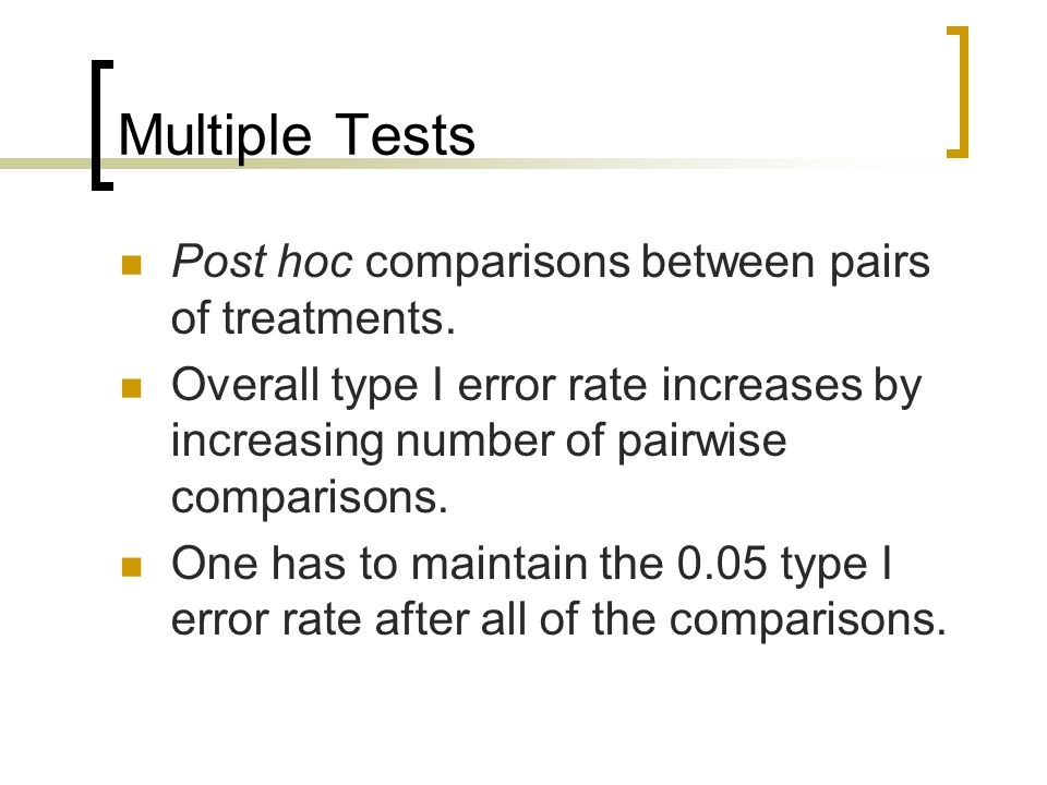 Multiple Tests Post hoc comparisons between pairs of treatments.