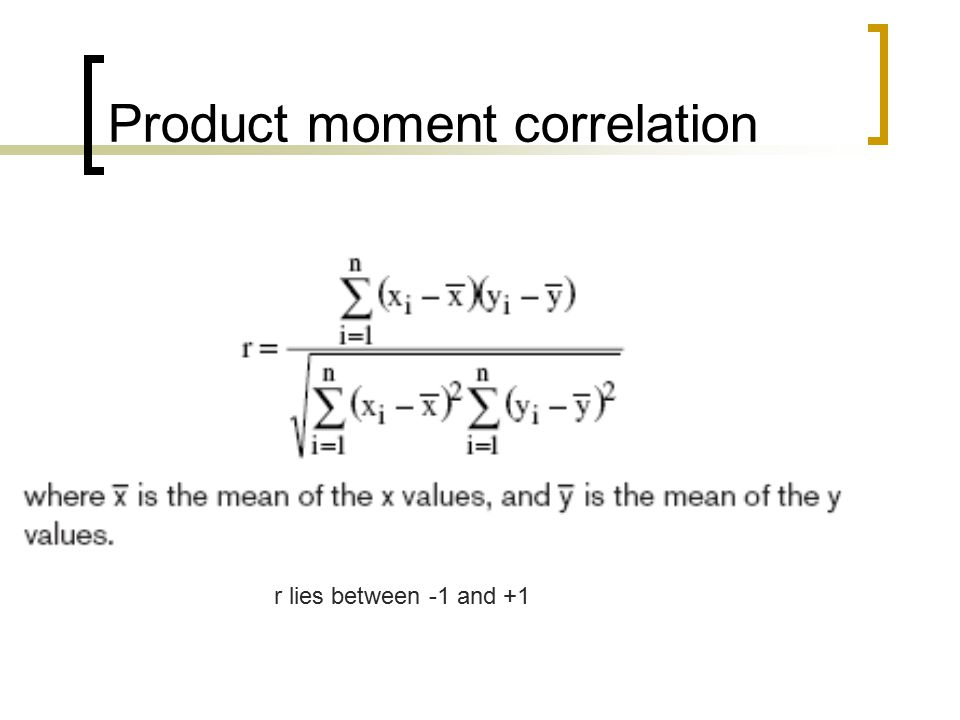 Product moment correlation r lies between -1 and +1