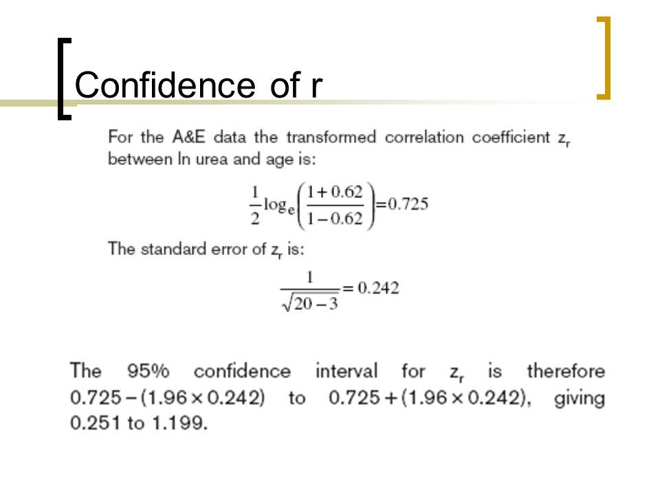 Confidence of r