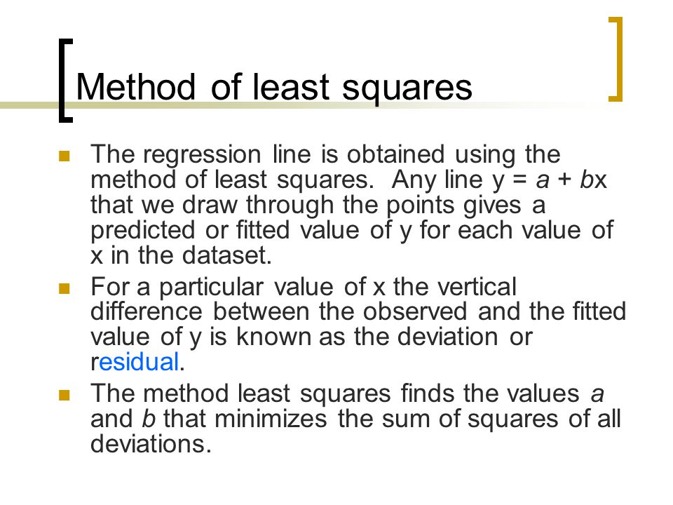 Method of least squares The regression line is obtained using the method of least squares.