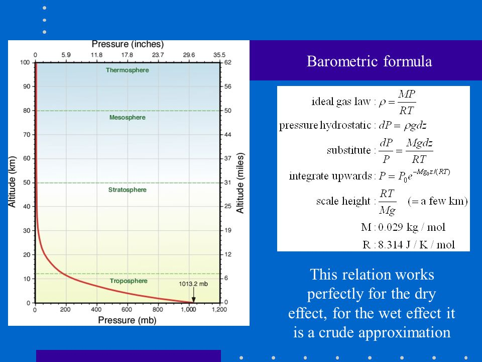 Barometric formula This relation works perfectly for the dry effect, for the wet effect it is a crude approximation