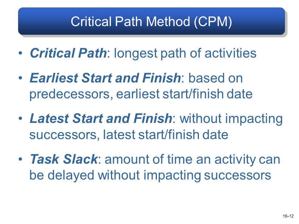 Critical Path Method (CPM) Critical Path: longest path of activities Earliest Start and Finish: based on predecessors, earliest start/finish date Latest Start and Finish: without impacting successors, latest start/finish date Task Slack: amount of time an activity can be delayed without impacting successors 16–12