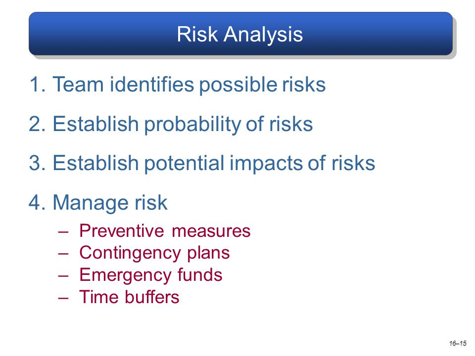Risk Analysis 1.Team identifies possible risks 2.Establish probability of risks 3.Establish potential impacts of risks 4.Manage risk –Preventive measures –Contingency plans –Emergency funds –Time buffers 16–15
