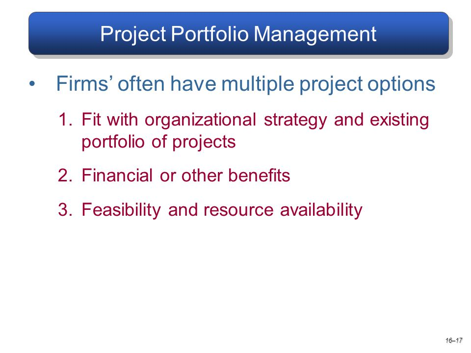 Project Portfolio Management Firms' often have multiple project options 1.Fit with organizational strategy and existing portfolio of projects 2.Financial or other benefits 3.Feasibility and resource availability 16–17