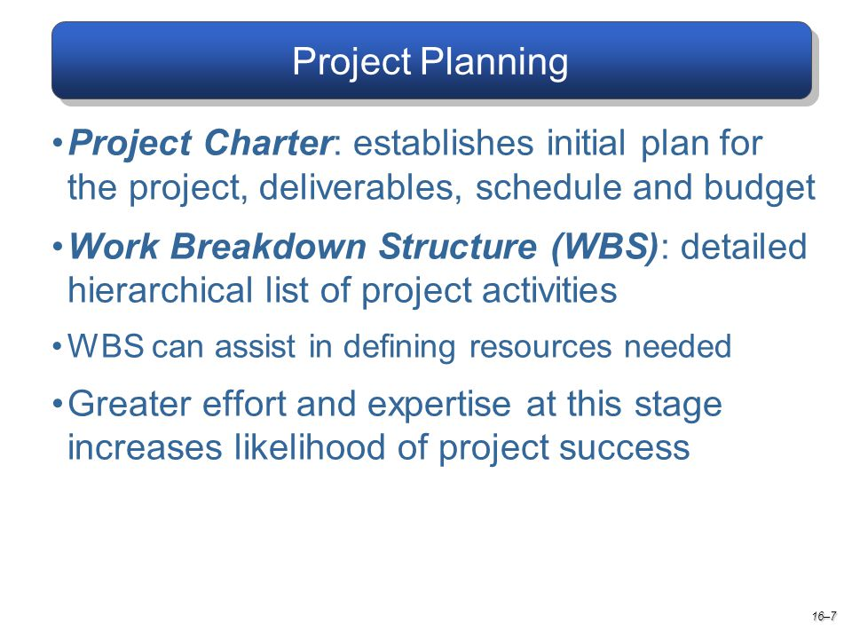 Project Planning 16–7 Project Charter: establishes initial plan for the project, deliverables, schedule and budget Work Breakdown Structure (WBS): detailed hierarchical list of project activities WBS can assist in defining resources needed Greater effort and expertise at this stage increases likelihood of project success