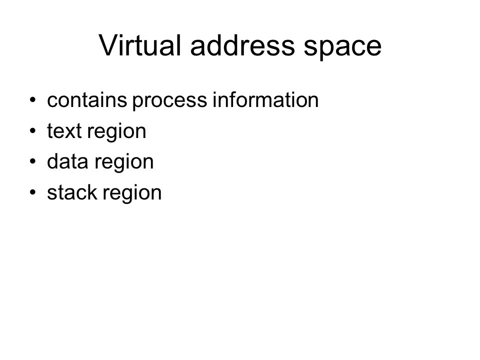 Virtual address space contains process information text region data region stack region