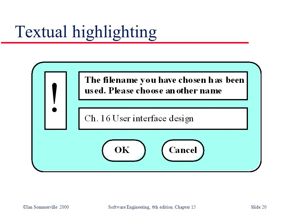 ©Ian Sommerville 2000 Software Engineering, 6th edition. Chapter 15Slide 20 Textual highlighting