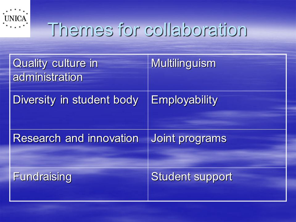 Themes for collaboration Quality culture in administration Multilinguism Diversity in student body Employability Research and innovation Joint programs Fundraising Student support
