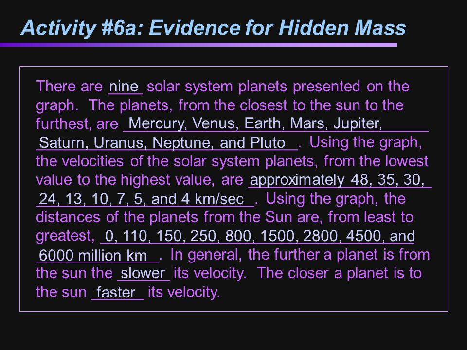 Activity #6a: Evidence for Hidden Mass There are ____ solar system planets presented on the graph.