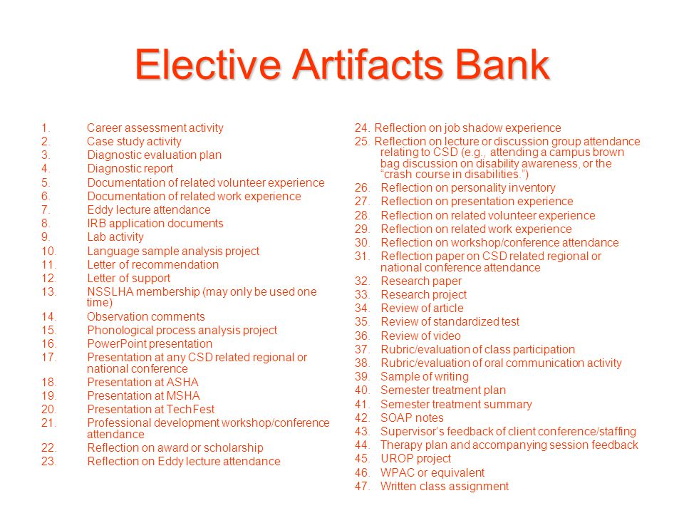 Elective Artifacts Bank 1.Career assessment activity 2.Case study activity 3.Diagnostic evaluation plan 4.Diagnostic report 5.Documentation of related volunteer experience 6.Documentation of related work experience 7.Eddy lecture attendance 8.IRB application documents 9.Lab activity 10.Language sample analysis project 11.Letter of recommendation 12.Letter of support 13.NSSLHA membership (may only be used one time) 14.Observation comments 15.Phonological process analysis project 16.PowerPoint presentation 17.Presentation at any CSD related regional or national conference 18.Presentation at ASHA 19.Presentation at MSHA 20.Presentation at TechFest 21.Professional development workshop/conference attendance 22.Reflection on award or scholarship 23.Reflection on Eddy lecture attendance 24.