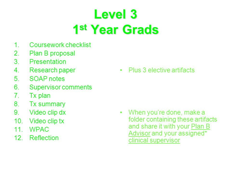 Level 3 1 st Year Grads 1.Coursework checklist 2.Plan B proposal 3.Presentation 4.Research paper 5.SOAP notes 6.Supervisor comments 7.Tx plan 8.Tx summary 9.Video clip dx 10.Video clip tx 11.WPAC 12.Reflection Plus 3 elective artifacts When you're done, make a folder containing these artifacts and share it with your Plan B Advisor and your assigned* clinical supervisor