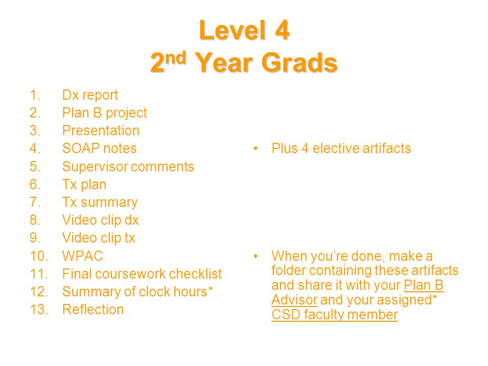 Level 4 2 nd Year Grads 1.Dx report 2.Plan B project 3.Presentation 4.SOAP notes 5.Supervisor comments 6.Tx plan 7.Tx summary 8.Video clip dx 9.Video clip tx 10.WPAC 11.Final coursework checklist 12.Summary of clock hours* 13.Reflection Plus 4 elective artifacts When you're done, make a folder containing these artifacts and share it with your Plan B Advisor and your assigned* CSD faculty member