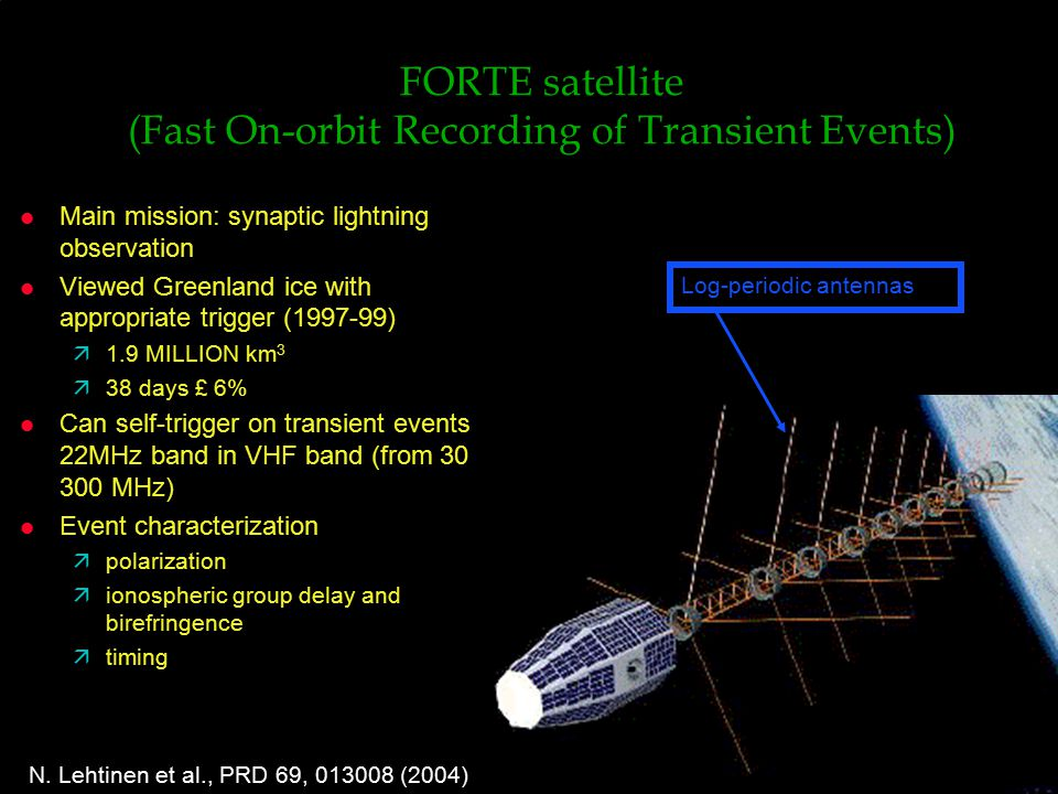 FORTE satellite (Fast On-orbit Recording of Transient Events) l Main mission: synaptic lightning observation l Viewed Greenland ice with appropriate trigger ( ) ä1.9 MILLION km 3  38 days £ 6% l Can self-trigger on transient events in 22MHz band in VHF band (from 30 to 300 MHz) l Event characterization äpolarization äionospheric group delay and birefringence ätiming Log-periodic antennas N.