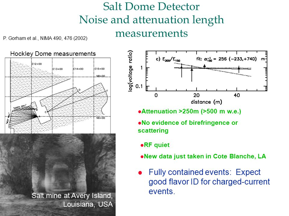 Salt Dome Detector Noise and attenuation length measurements l Fully contained events: Expect good flavor ID for charged-current events.