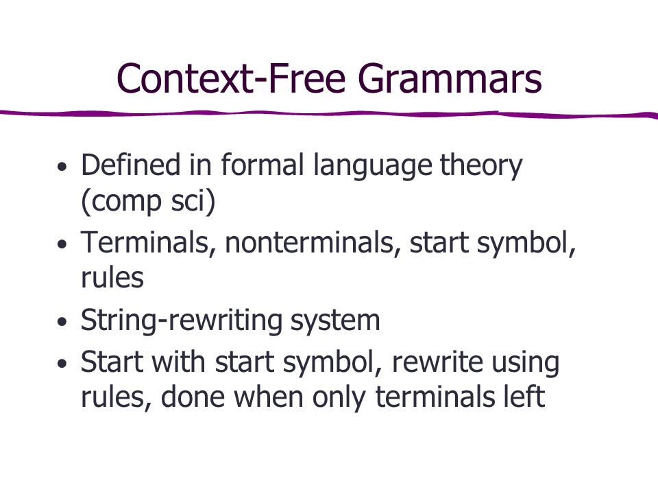 Context-Free Grammars Defined in formal language theory (comp sci) Terminals, nonterminals, start symbol, rules String-rewriting system Start with start symbol, rewrite using rules, done when only terminals left