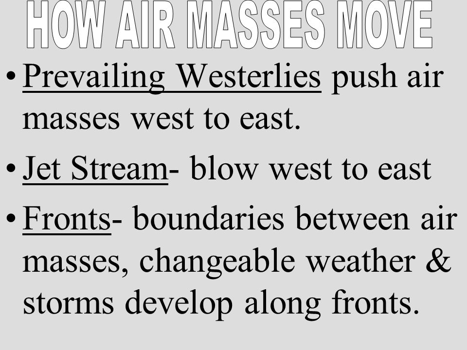 Prevailing Westerlies push air masses west to east.