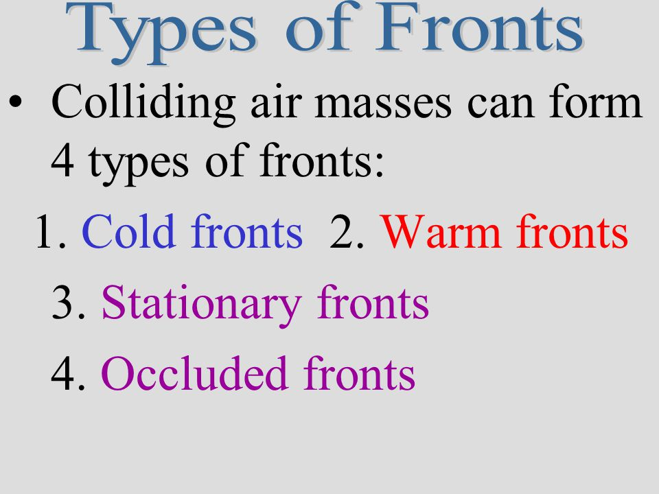 Colliding air masses can form 4 types of fronts: 1.