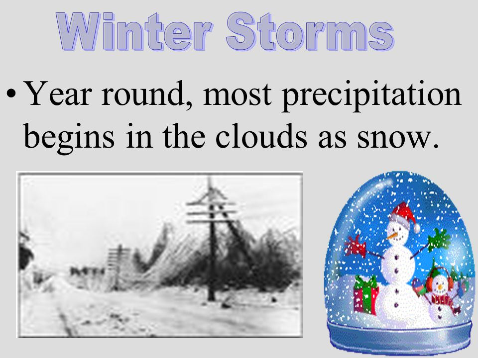 Year round, most precipitation begins in the clouds as snow.