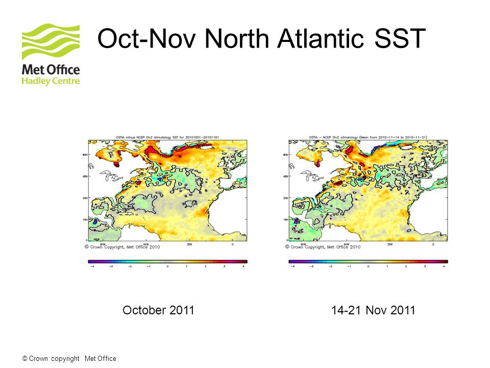 © Crown copyright Met Office Oct-Nov North Atlantic SST October Nov 2011