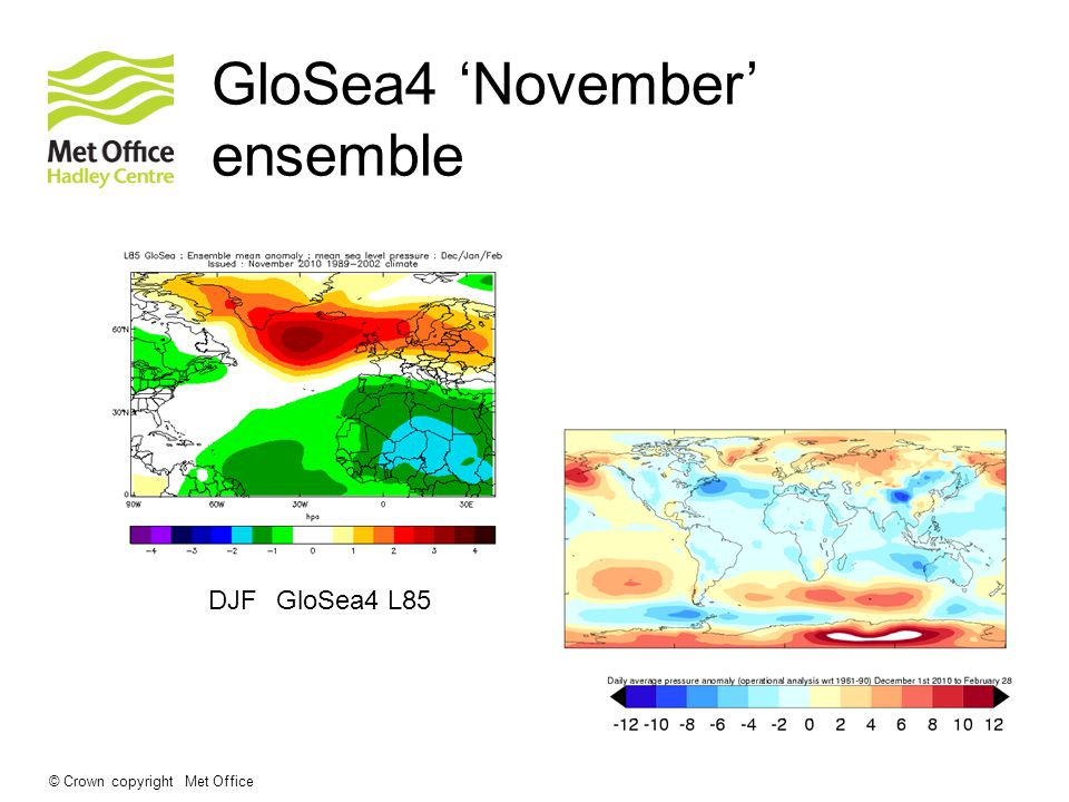 © Crown copyright Met Office GloSea4 'November' ensemble GloSea4 L85DJF