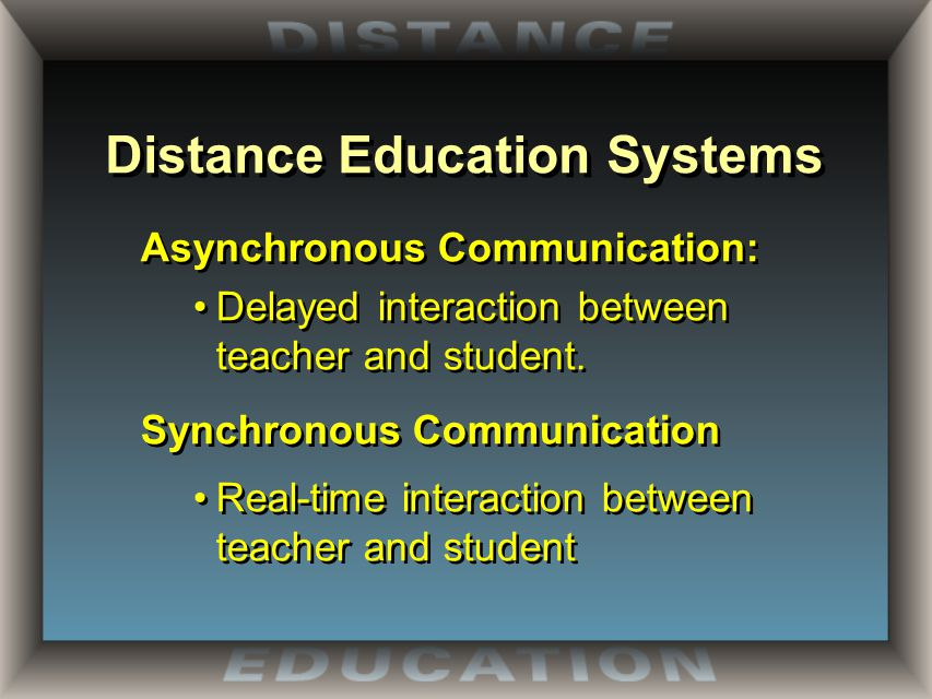 Distance Education Systems Agenda  Distance Education