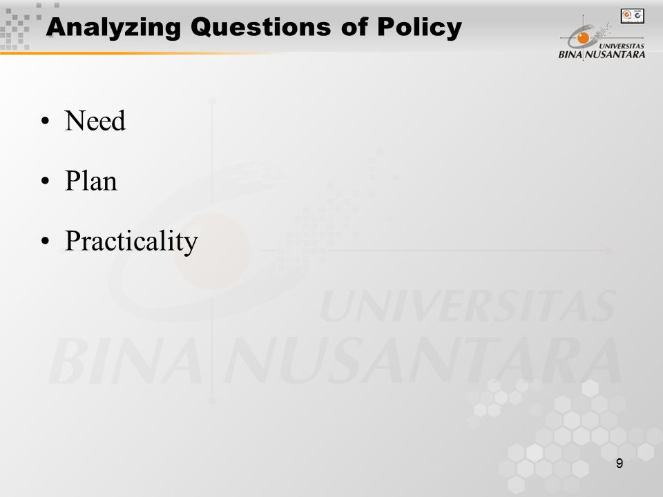 9 Analyzing Questions of Policy Need Plan Practicality