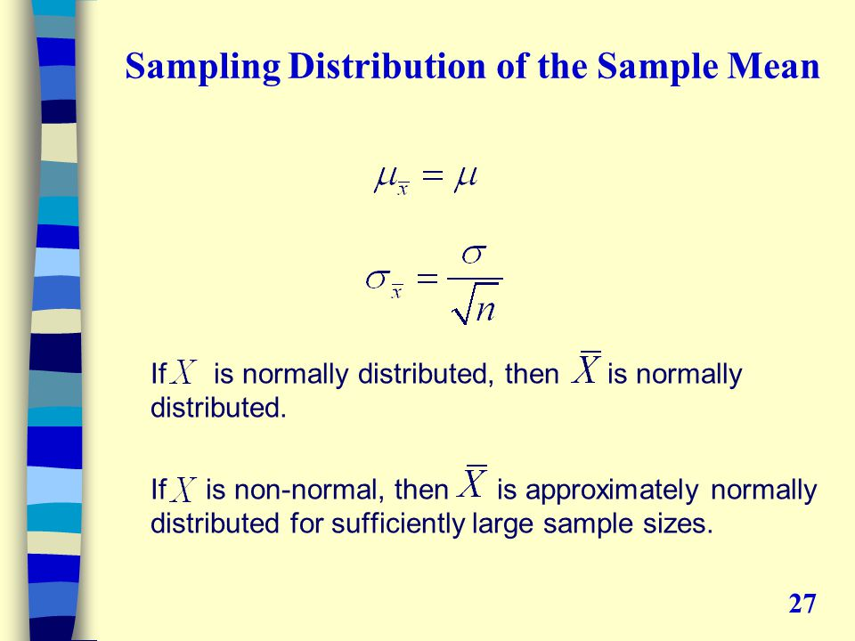Sampling Distribution of the Sample Mean If is normally distributed, then is normally distributed.