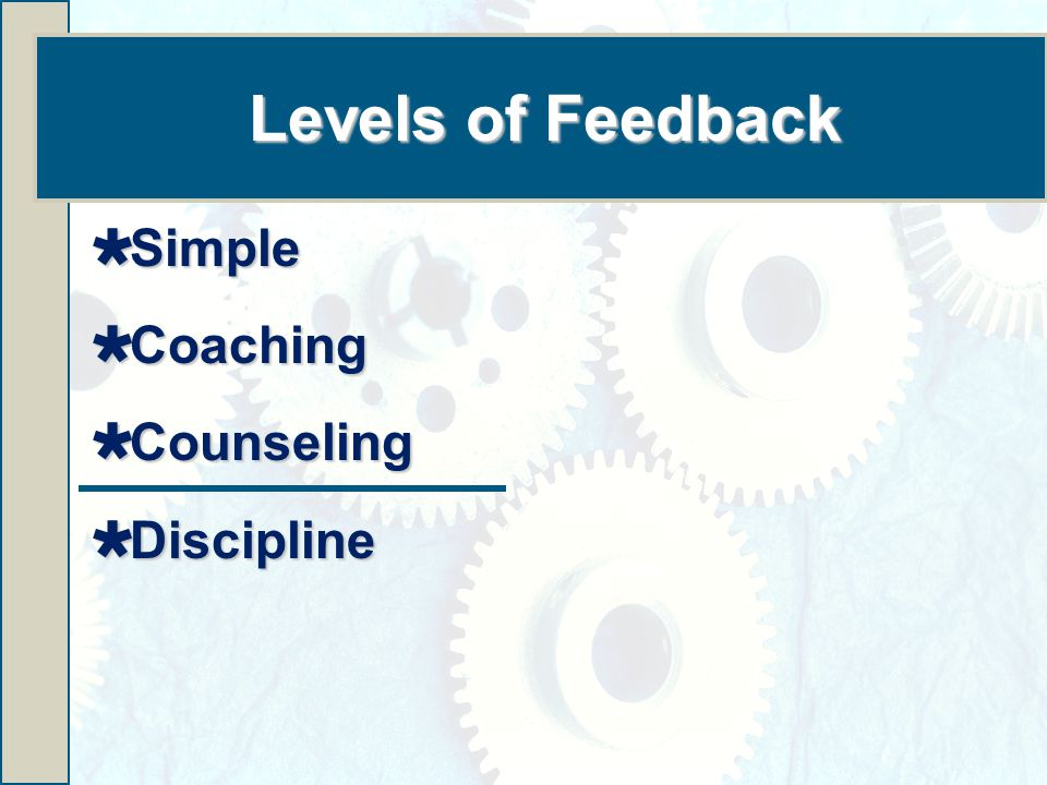 Levels of Feedback  Simple  Coaching  Counseling  Discipline