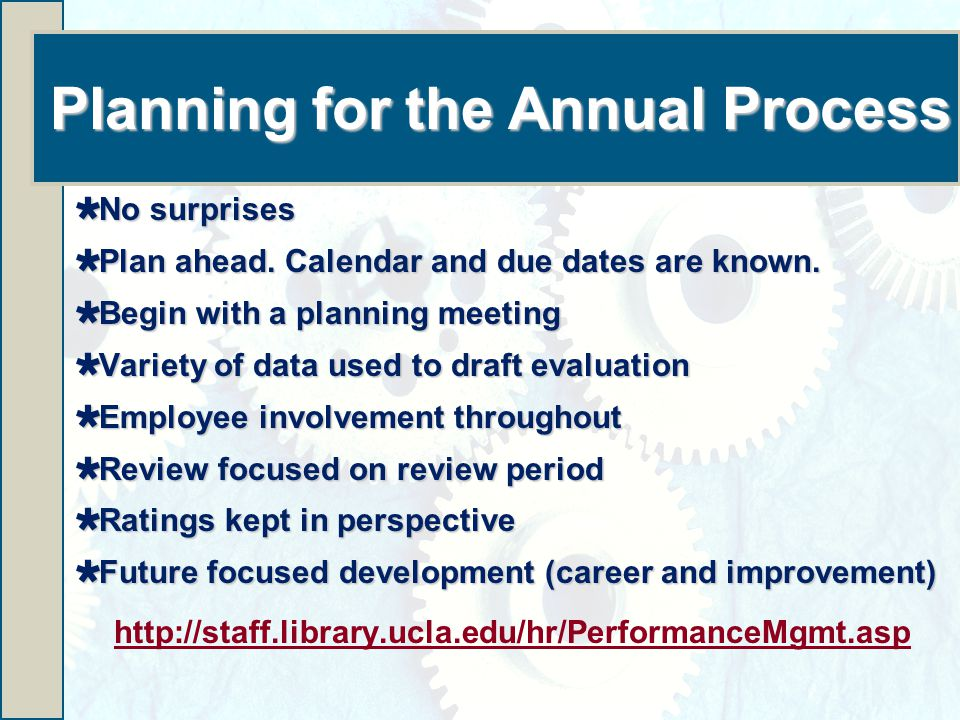 Planning for the Annual Process  No surprises  Plan ahead.