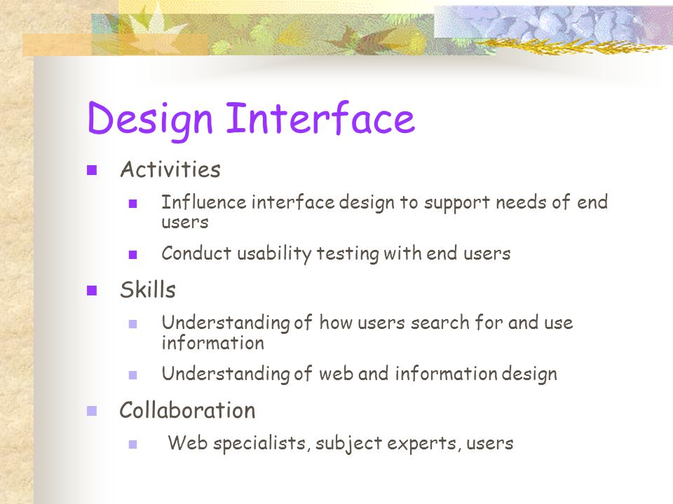 Design Interface Activities Influence interface design to support needs of end users Conduct usability testing with end users Skills Understanding of how users search for and use information Understanding of web and information design Collaboration Web specialists, subject experts, users