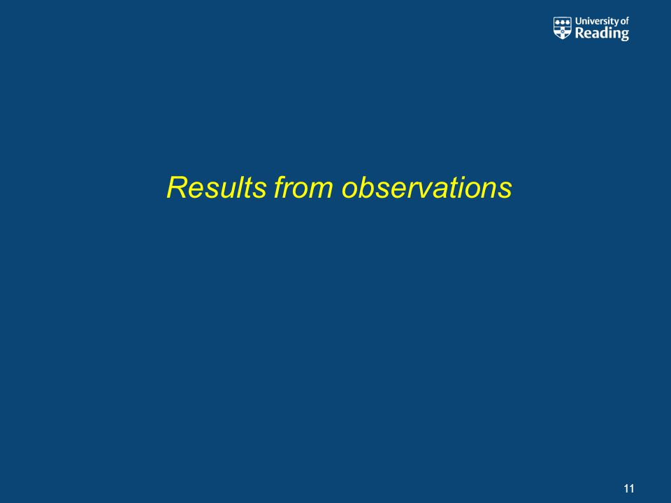 Results from observations 11