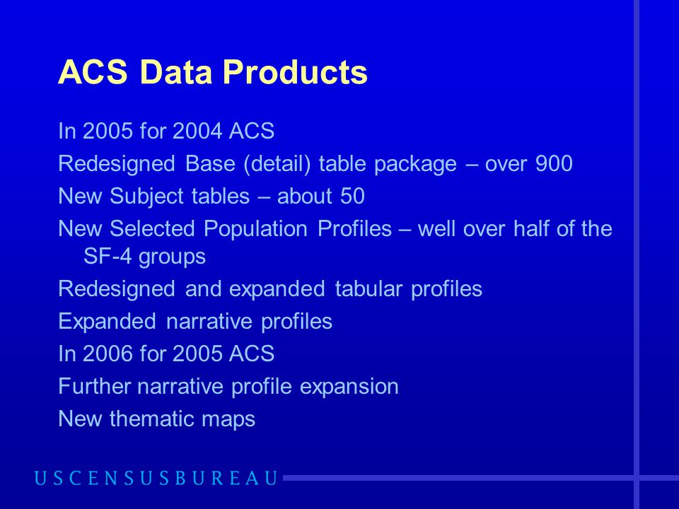 ACS Data Products In 2005 for 2004 ACS Redesigned Base (detail) table package – over 900 New Subject tables – about 50 New Selected Population Profiles – well over half of the SF-4 groups Redesigned and expanded tabular profiles Expanded narrative profiles In 2006 for 2005 ACS Further narrative profile expansion New thematic maps